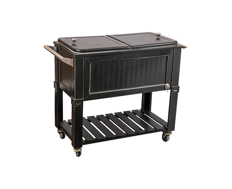 80QT Multi-Function Wood Grain Dining Car Cooler Cart