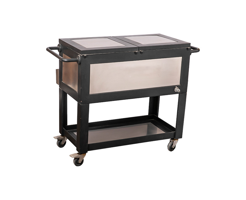80QT Two colors Wood Grain Dining Car Cooler Cart