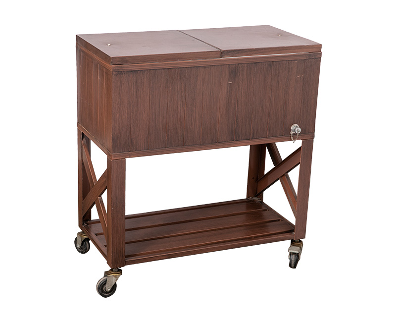 80QT Retro Wooden Cooler Cart