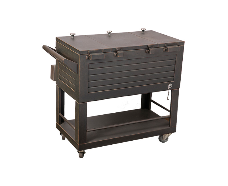 80QT Wood Grain Patio Push Cooler Cart