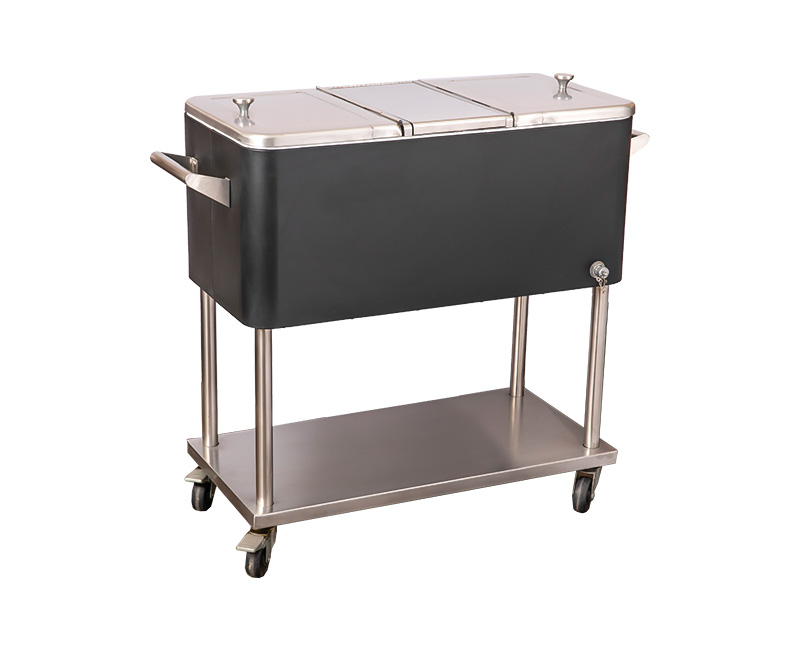 80QT Metal Rolling Beer Cooler Patio Ice Cart