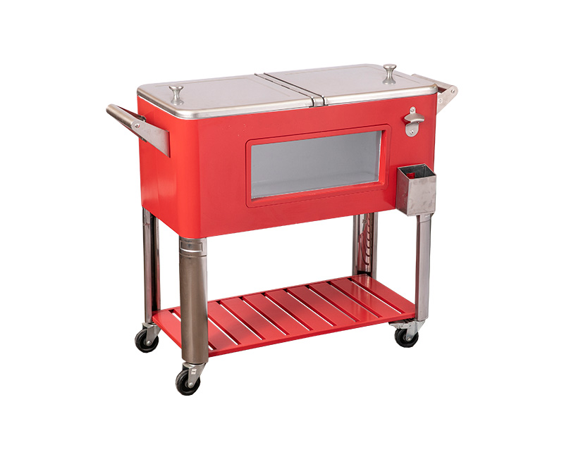 80QT LED Cooler Cart With Window