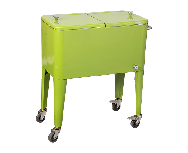 60QT Large Rolling Patio Push Cooler Cart