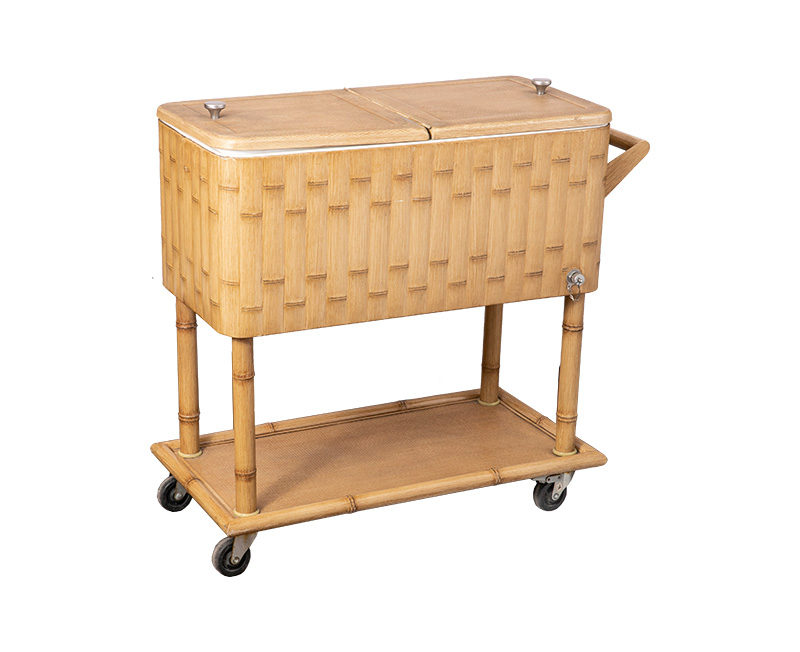 80QT Outdoor Characteristic Wood Grain Cooler Cart