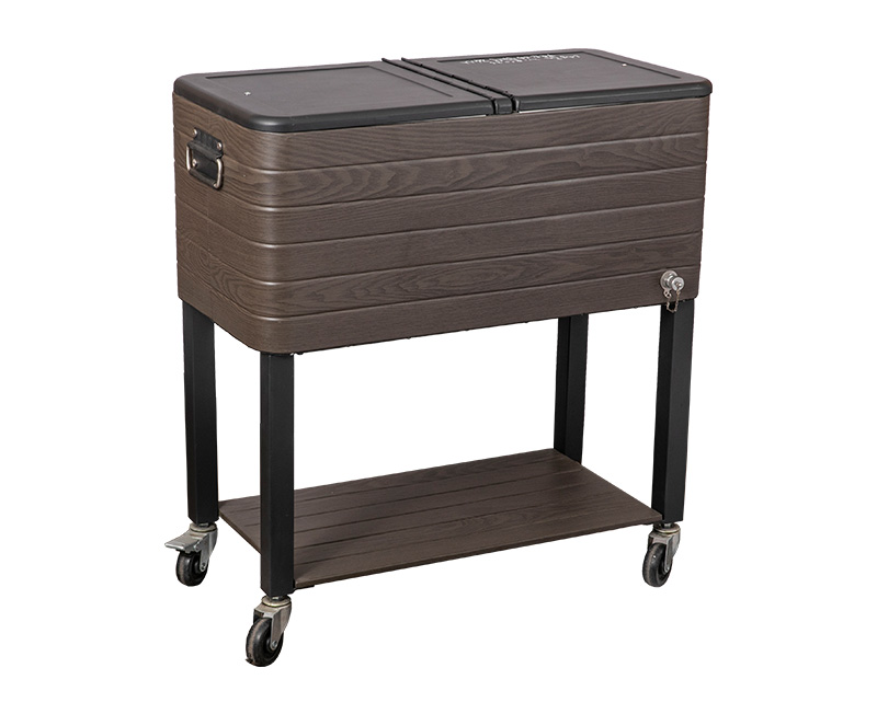 60QT Metal Vintage Picnic Cooler Cart With Wheels
