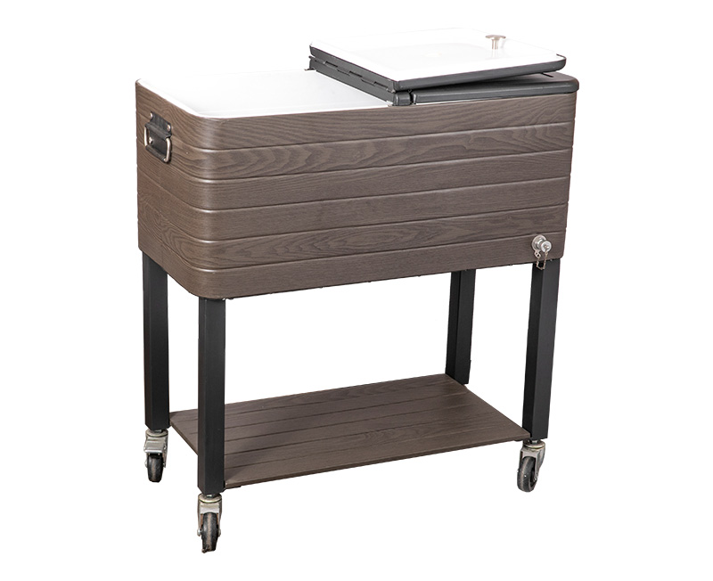 The Wood Grain Effect Cooler Cart Looks More Retro