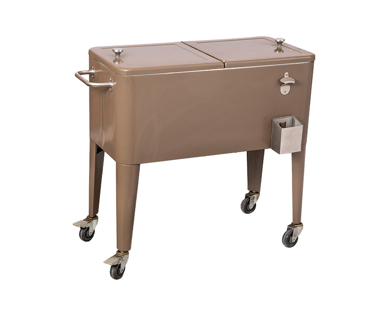 80QT Metal Rolling Patio Ice Cooler Cart For Beer