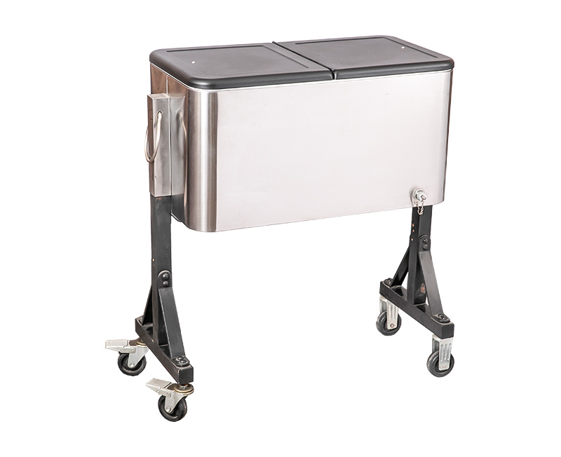 80QT Steel Herringbone Cooler Cart