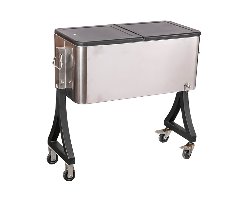60QT Party Metal Mobile Bar Cooler Cart