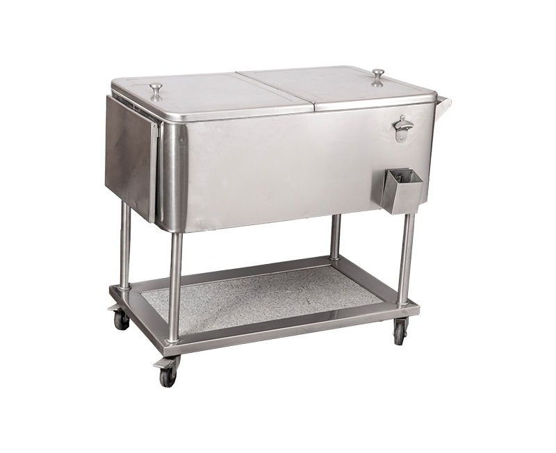 80QT Beverage Drink Rolling Cooler Cart With Wheels