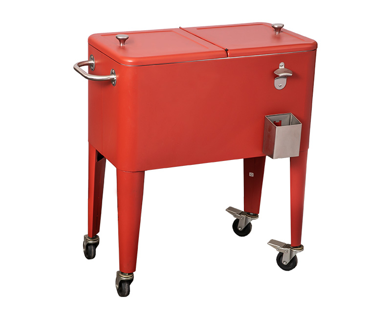 80QT Outdoor Picnic Four Wheels Sheep Leg Cooler Cart