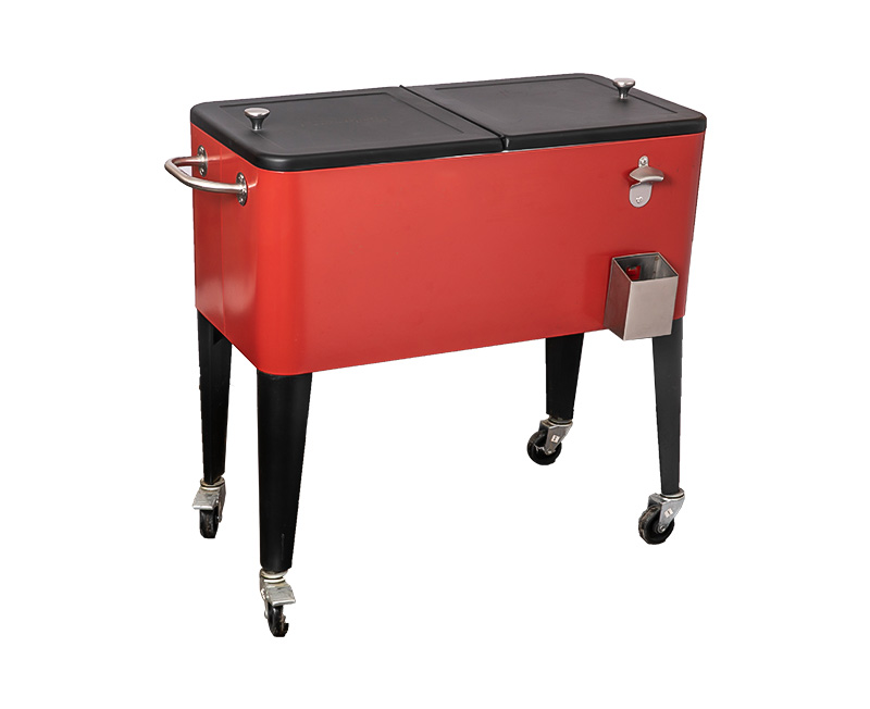 60QT Wholesale Metal Beer Steel Cooler Rolling Cart With Wheel