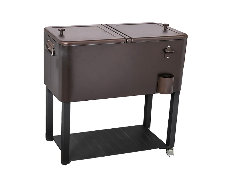 80QT Wholesale Customization Bar Metal Rolling Cooler Cart