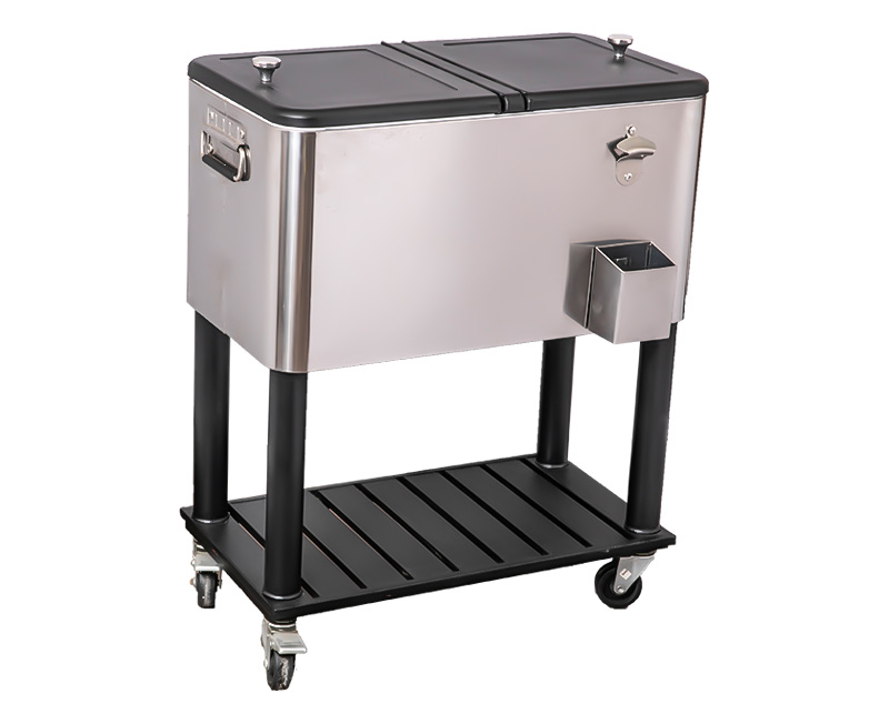 80QT Outdoor Drink Picnic Metal Cooler Cart