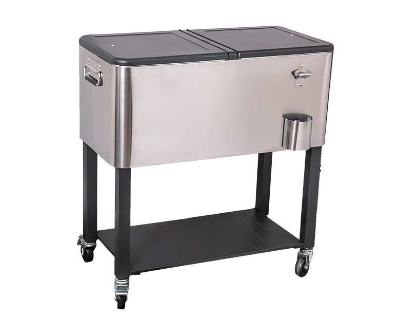 60QT Wholesale Customization Bar Metal Rolling Cooler Cart