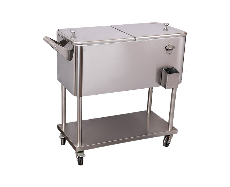 60QT Patio Ice Cooler Cart And Beverage Bar Cart Cover