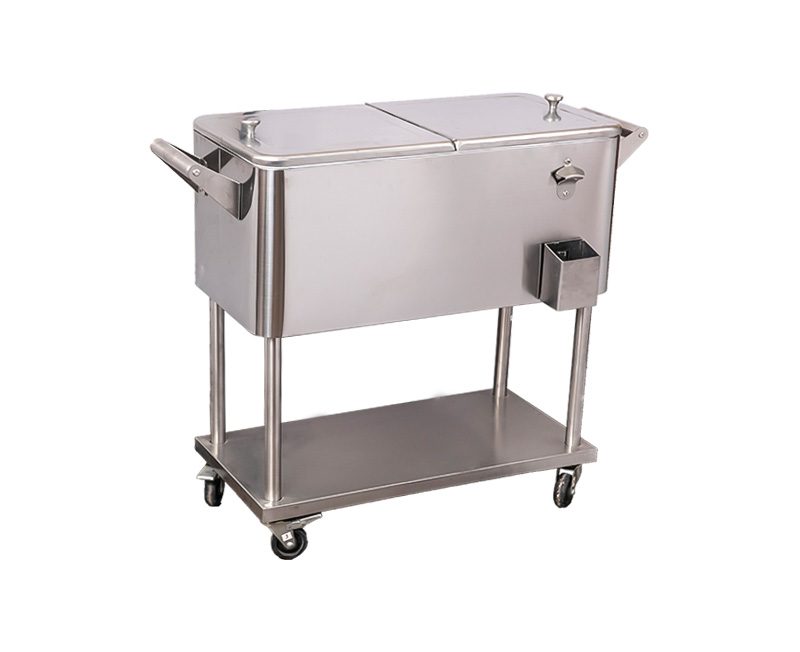 80QT Double Handle Stainless Steel Cooler Cart