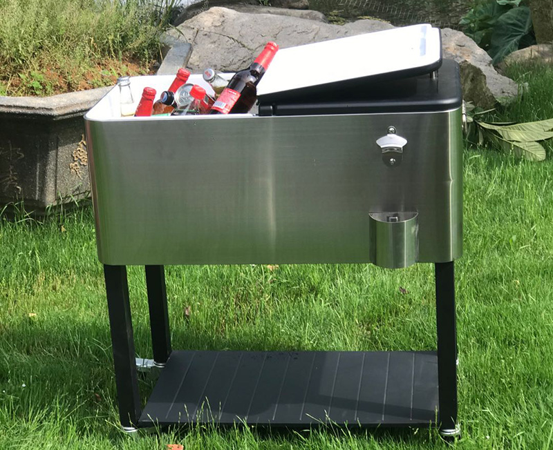 80QT Outdoor Picnic Four Wheels Patio Beer Cooler Cart