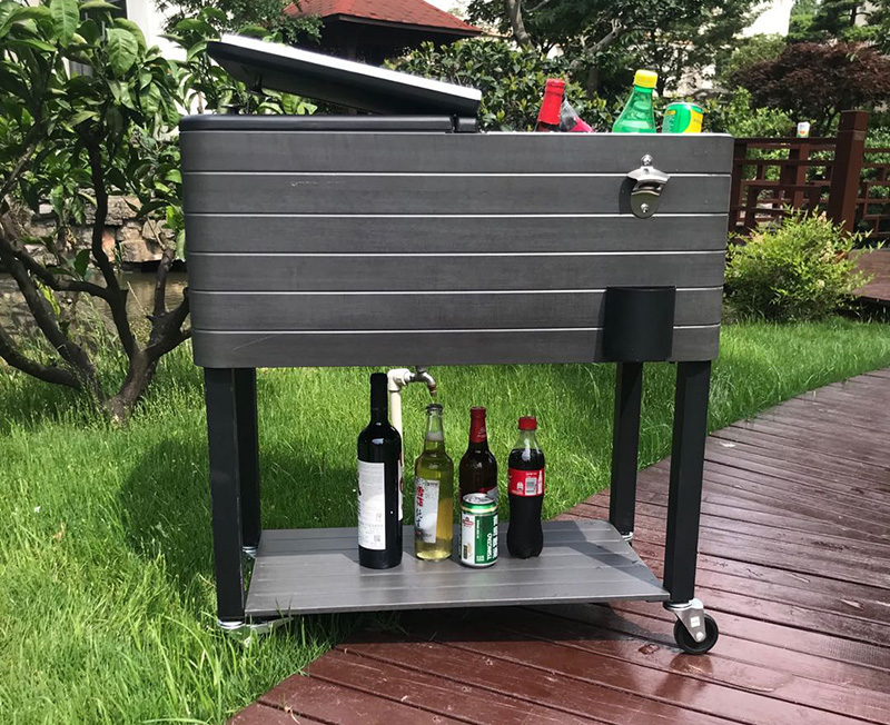 60QT Wood Grain Patio Cooler Cart-Gray Woodgrain